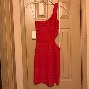 Macy's Dresses - One shoulder coral party dress